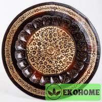 Тарелка настенная, 40 см, веточки, черно-зол