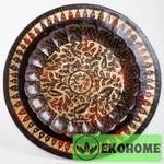 Тарелка настенная, 40 см, листья, черно-зол