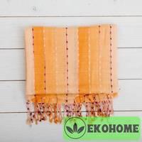 Шарф, 100% хлопок, 50х175см, в оранжевую полоску